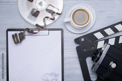 Foto op Aluminium Buffet, Bar background with a set of subjects for the film Director, a coffee mug, a sheet of blank paper for recording and subjects for shooting