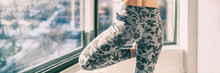 Yoga Meditation Leggings Woman Training At Home In Winter Wearing Fashion Floral Activewear Banner Panorama.