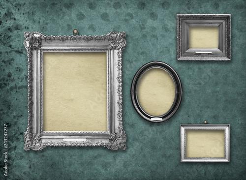 Set Of Wooden Vintage Silver Baroque Frames For Museum