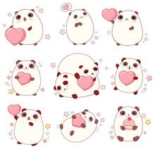 Set Of Cute Pandas In Kawaii S...