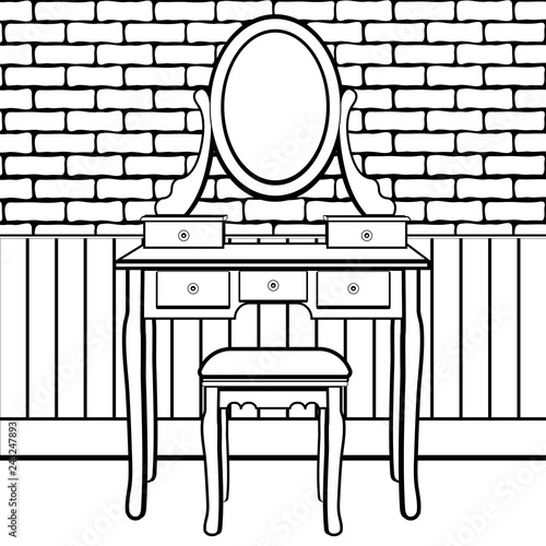 Dressing table with mirror, female boudoir for applying
