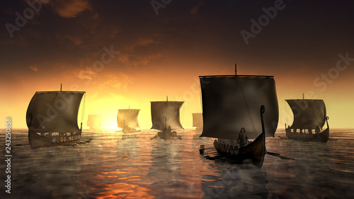 Photo  Vikings ships on the misty water.