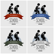 Back To School Logo Design. Vector Artwork Of Small Children Walking With Schoolbag. Students Going Back To Study At School.