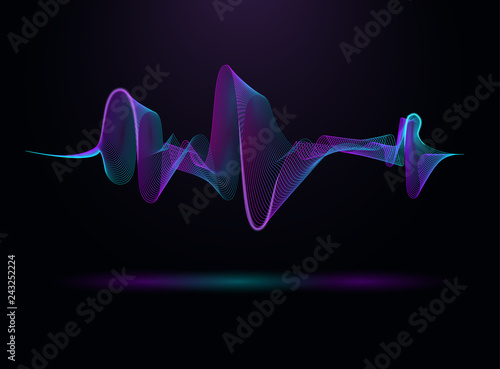 Photo  Sound and voice beautiful wave abstract background