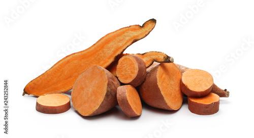 Sweet potato slices isolated on white background