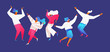 Flat modern group of people dancing. Men and women in dynamic poses on blue background. Vivid pink gradients and white clothes, flying hair, hands up