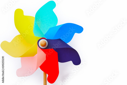 Multicolored pinwheel windmill toy isolated on white Fototapet