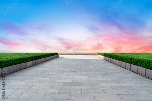 Photo Stands Pale violet Empty Plaza Floor Bricks and Beautiful Natural Landscape