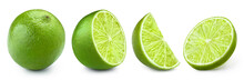 Set Of Limes, Isolated On White Background