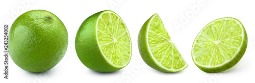 Valokuva Set of limes, isolated on white background