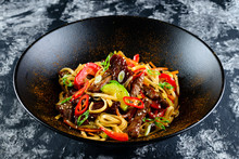 Udon Noodles With Vegetables, Duck. The Stir Fry Teriyaki Beef