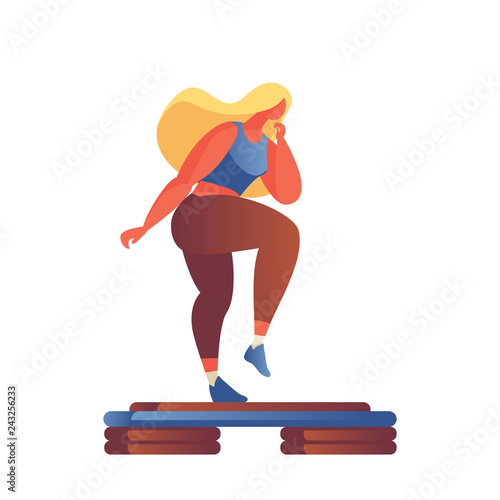 Fototapeta Step aerobics girl in flat modern style drawn with gradients and vivid colors, isolated on white. Active lifestyle illustration good for aerobic studio or gym. obraz