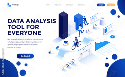 Photo  Modern flat design isometric concept of Data Analysis tool for everyone for website and mobile website