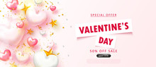 Valentine's Day Sale Background.Romantic Composition With Hearts, Stars, Beads And Serpentine. Vector Illustration For Website , Posters,ads, Coupons, Promotional Material.