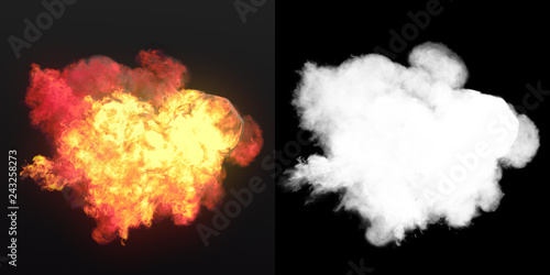 Large explosion with black smoke in dark plus alpha channel Canvas-taulu