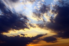 Pretty Vivid Sunset Or Sunrise Clouds For Using In Design As Background.