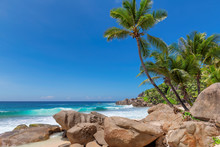 Beautiful Beach With Palm Trees And Rocks In Seychelles Paradise Island.