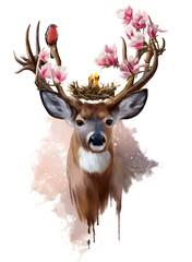 Fototapeta Do pokoju dziewczyny Deer, red-breasted bird and flowers
