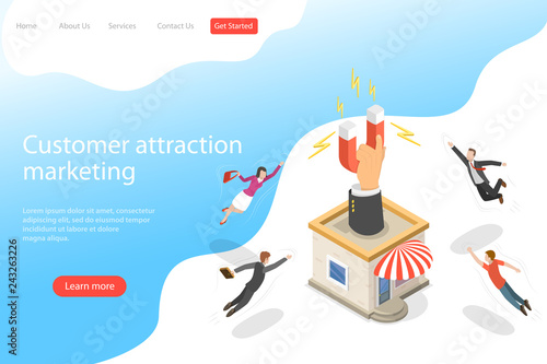 Foto  Flat isometric vector landing page template for client attracting, customer retention strategy, support and satisfaction