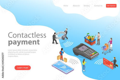 Flat isometric vector landing page template of contactless, wireless, cashless payment, NFC