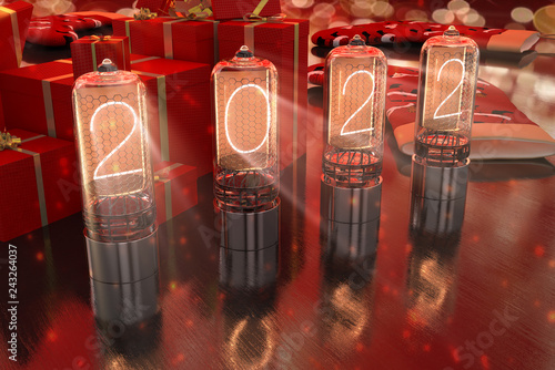 Fotografia  year is 2022 displayed on old television incandescent lamps on the New Year's re