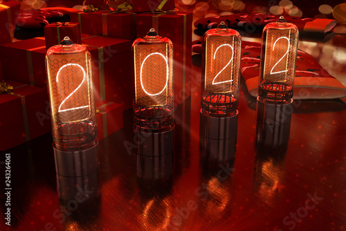 Fotografering  year 2022 is displayed on old television incandescent lamps on the New Year's re