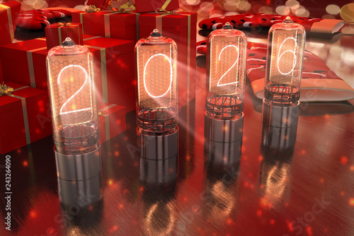Fotografia  year 2026 is displayed on old television incandescent lamps on the New Year's re