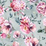 Akwarela bezszwowe wzór kwiaty piwonii i blosom na szarym tle powitalny na ślub, zaproszenia, kartki walentynkowe i wydruków - 243265879