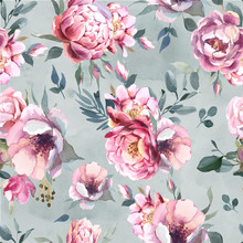 Watercolor Seamless Pattern Of Peony And Blosom Flowers On Gray Splash Background For Wedding, Invitation, Valentine Cards And Prints