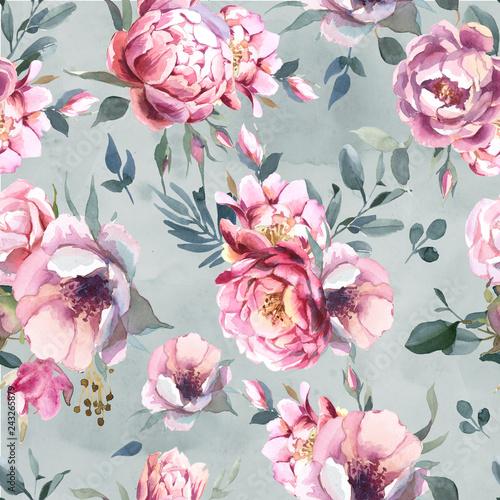akwarela-bezszwowe-wzor-kwiaty-piwonii-i-blosom-na-szarym-tle-powitalny-na-slub-zaproszenia-kartki-i-odbitki