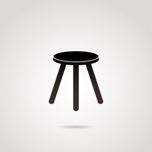 Chair, Wooden Stool Vector Icon.