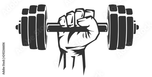Vector hand drawn silhouette of strong hand lifting up steel dumbbell isolated on white background Canvas Print