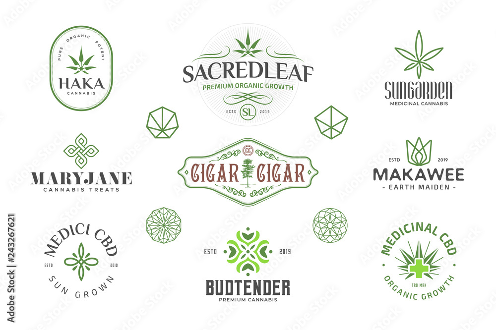 Fototapeta Set of  Modern vintage cannabis logo templates. Several leaf and sacred geometry illustrations and symbols.
