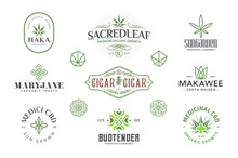 Set Of  Modern Vintage Cannabis Logo Templates. Several Leaf And Sacred Geometry Illustrations And Symbols.