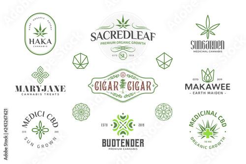 Obraz na plátně Set of  Modern vintage cannabis logo templates