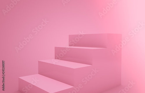 Cuadros en Lienzo Abstract 3d rendering with pastel pink stair