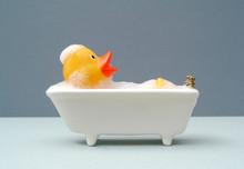 Rubber Duck Taking A Bath. Grey Baackground