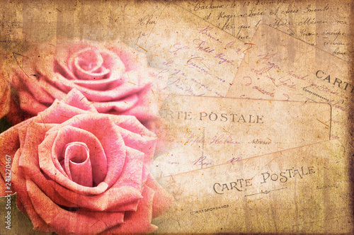 Poster Retro Pink roses, vintage postcard on textured parchment background