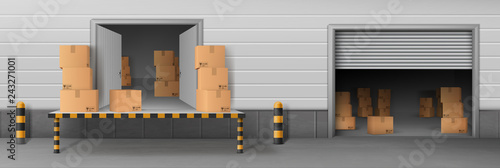 Shop storehouse, store rear entrance for cargo unloading, delivery company wareh Poster Mural XXL