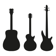 Set Guitar In Silhouette Style...