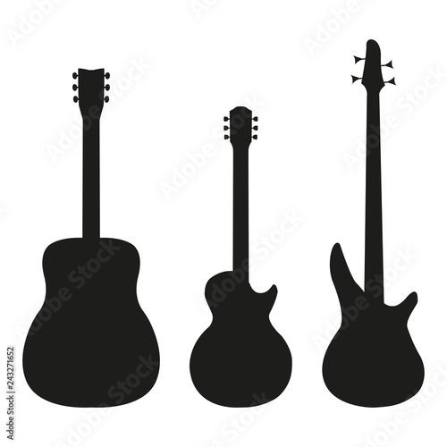 Fotografia, Obraz Set guitar in silhouette style on a white background