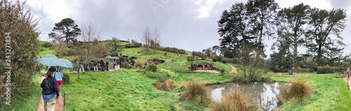HOBBITON, NEW ZEALAND - AUGUST 2018: Hobbit houses in Hobbiton, New Zealand Wallpaper Mural