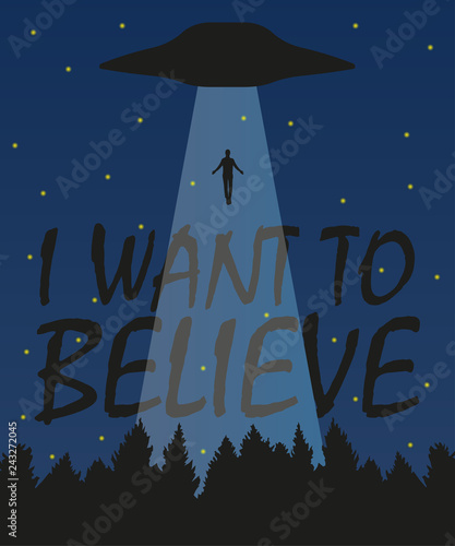 Платно I want to believe illustration, stylish design with silhouette