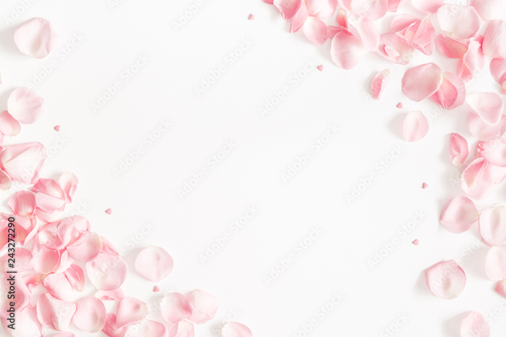 Fototapeta Flowers composition. Rose flower petals on white background. Valentine's Day, Mother's Day concept. Flat lay, top view, copy space