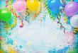 Leinwandbild Motiv Festival, carnival or birthday party frame with balloons, streamers and confetti