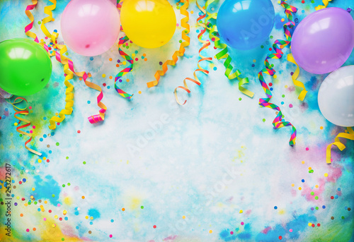 Festival, carnival or birthday party frame with balloons, streamers and confetti