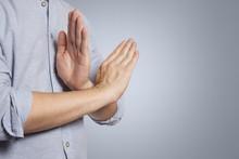 Refusal Gesture, Crossed Hands On Grey Background