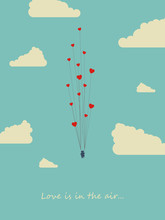 Valentine Day Card Template With Couple On Swing Carried Away By Heart Balloons. Symbol Of Love, Romance, Happiness.