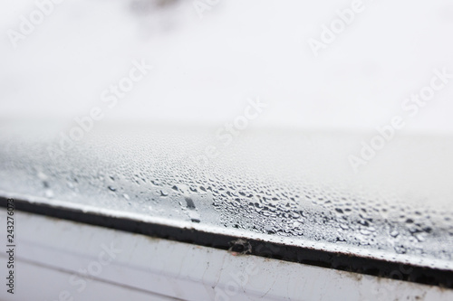 Mold On A Foggy Plastic Window Of White Color Close Up