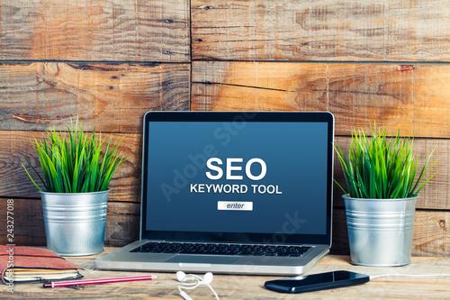 Photo  SEO keywording tool in a laptop screen.